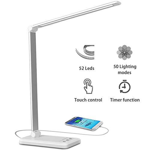 Lampada Da Tavolo 52 Ledusb Ricaricabile Lampada Da Scrivaniadimmerabile 10 Luminosità 5 Modalitàpieghevole Touch Controllo Lampade Per