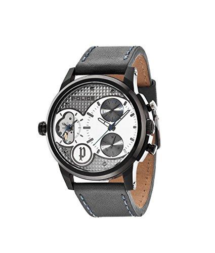 DIAMONDBACK Police-Orologio da uomo al quarzo con Display con cronografo e cinturino in pelle, colore: grigio, 14376JSB/04