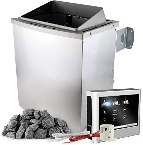 Saunaofen 9 kW mit externer Steuerung EASY mit Touch-Display inkl. 20 kg Saunasteine Olivin-Diabas Bio-Kombiofen mit Verdampfer (Variante: Saunaofen 9 kW Finnisch ohne Verdampferfunktion)
