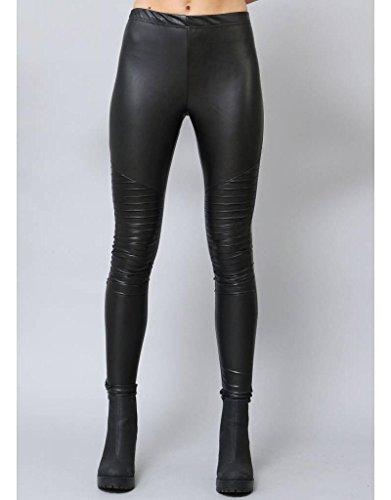 Biker Designer Leggings für Damen in 5 Farben by Sassyclassy | sanfte & bequeme Stretch-Hose in Leder-Optik | Größe 34-42 | Skinny PU-Lederleggings | High Waist Hose mit abgesteppten Biker-Knees