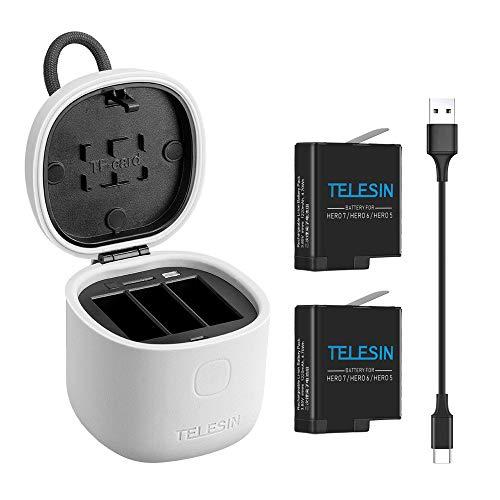 TELESIN allinBox Caricabatteria per Gopro,Kit di Multifunzione per Gopro,Caricatore USB a LED a 3 Canali,Ricarica+Lettore di Scheda SD,per Hero 7 Black/Hero 2018/Hero 6/5(Caricabatteria+2 batterie)