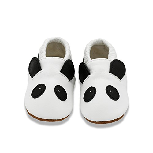 VASHCAME - Scarpe Bambino in Morbida Pelle Scarpine Primi Passi Infanzia Scarpette Neonato Bambina Ragazza Ragazzo Panda Bianco Taglia L: 12-18 Mesi