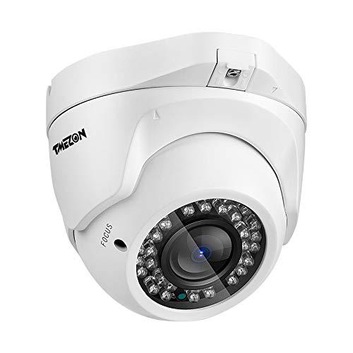 TMEZON dome Telecamera di sorveglianza 2.8-12mm,AHD 720p 1/3' 36 IR-LED lente varifocale automatica IR-Cut Visione notturna 130ft Metallo Telecamera di sicurezza esterna/interno