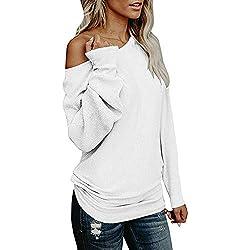 Lonshell Mujer Fuera del Hombro suéter Casual Suelta Punto sólido Manga Larga suéter Top
