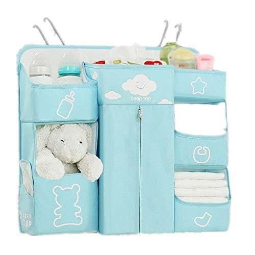 RANRANJJ 7 in 1 Culla Nursery Multifunzionale Hanging Cambio Pannolini dell'organizzatore, Impermeabile Passeggino Passeggino Hanging Bagagli Baby Bag Closet Organizer (Color : Blue)
