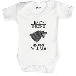 Personalizado juego de tronos Casa Stark Babygrow bebé crecer todos los tamaños Onesie Talla:3-6 meses