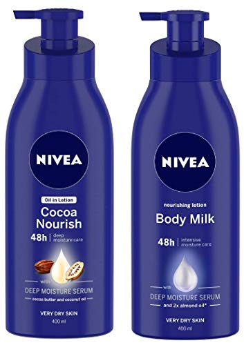 NIVEA Oil in Lotion, Cocoa Nourish, 400ml and Nivea Nourishing Lotion Body Milk with Deep Moisture Serum and 2x Almond Oil for Very Dry Skin, 400m