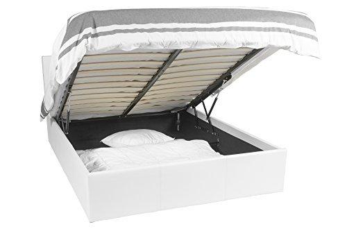 Telaio per il letto | Luna Ottoman | 140x190 | Bianco | lo spazio di archiviazione 665 litro |...