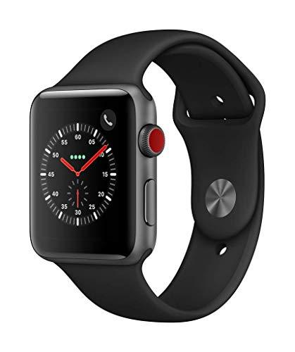 AppleWatchSeries3 (GPS+Cellular) concaja, de 42mm de aluminio engris espacial ycorrea deportiva negra