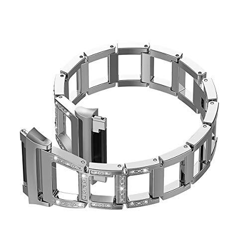 UKCOCO Cinturino in Metallo per Fitbit Ionic, Bracciale in Acciaio Inossidabile con Diamanti di Lusso Bling Bracciale Accessori per Fitbit Ionic Fitness Tracker (Argento)