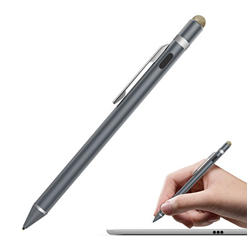 MoKo Universal Active Stylus, 2 in 1 High Precision Sensitivity 1.5mm Capacitive Pen, Metal Stylus Pen for Touch Screen Devices Smartphones & Tablets(iPad, iPhone X/8/8 Plus, Samsung etc.)- Space Gray