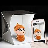Caja de Luz Fotografia, Zecti Mini Caja luz portatil 24x22x24cm para el Rodaje de Pequeños Objetos con dos Fondos (Blanco y Negro)