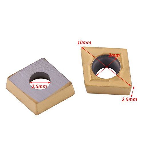 10pcs Tin-coated CNC Carbide Insert Cutter Indexable Lathe Milling Inserts Turning Tools with Box CCMT060204-HM YBC251 for Steel Semifinishing