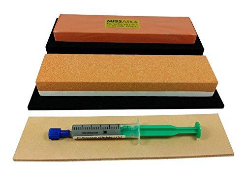 Schärf-Set für Messer / Abziehstein Korund + MissArkaUltra + Leder + Feinschleifpaste, mit rutschfesten Unterlagen