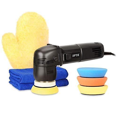 SPTA 15mm 80mm 760W Exzenter Poliermaschine Excenter Schleifmaschine Auto Polierer mit Polierschwamm Polierschwämme Polierteller Tasche für Auto KFZ Boot