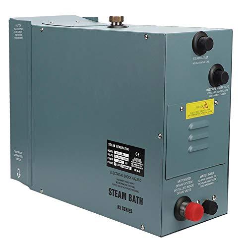 Asixx Generador de Vapor eléctrico, generador de Acero Inoxidable de 6KW con Controlador de Pantalla de Temperatura Digital para hogar SPA Baño Hotel Ducha de Vapor(EU 220V)