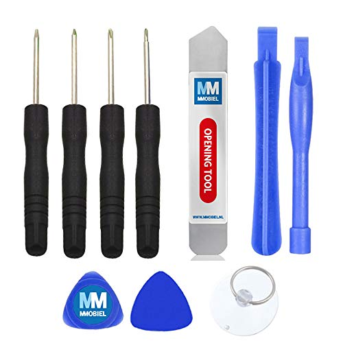 MMOBIEL Schraubenzieher Satz 10 teilig für Smartphone Reparatur Werkzeug Set inkl. Saugnapf und Metall Spudger