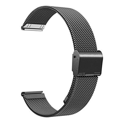 XIHAMA Cinturino di Ricambio per Samsung Gear S2 Classic, Cinturino in Acciaio Inossidabile 20mm Braccialetto Compatibile con Galaxy Watch 42mm, Garmin Vivoactive 3 (20mm, Nero)