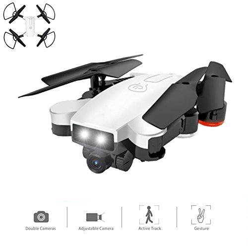 YMXLJJ Drone Con Telecamera WIFI FPV Aereo A 4 Assi Con 720 P HD Dual Camera Live Video Pieghevole RTF 2,4 Ghz 4 CH 6 Assi Gyro Automatico Follow/Gesture Photo RC Helicopter Bianco