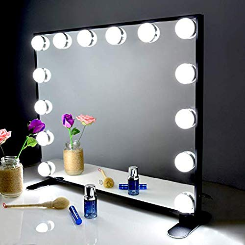 BEAUTME Mirror Makeup Hollywood con luci a LED, Touch Control Large Vanity Mirror, alluminio Frame...