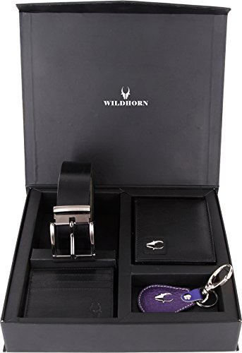 Wildhorn Black Wallet , Free Size Belt , Credit Card Holder & Keyring