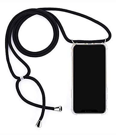 """Mediatech Handykette kompatibel mit Samsung Galaxy S7 Edge - Handy-Kette Handyhülle mit Band Handy Hülle mit Kordel zum Umhängen Halsband Necklace Handyanhänger Band Case Cover (Transparent 5.5\"""")"""