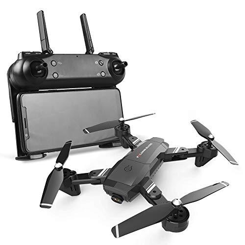 JohnnyLuLu FPV RC Drone con videocamera HD 1080P, WiFi FPV Quadcopter Pieghevole in Tempo Reale con Telecomando Follow Me Headless Auto Decollo/Land,Black