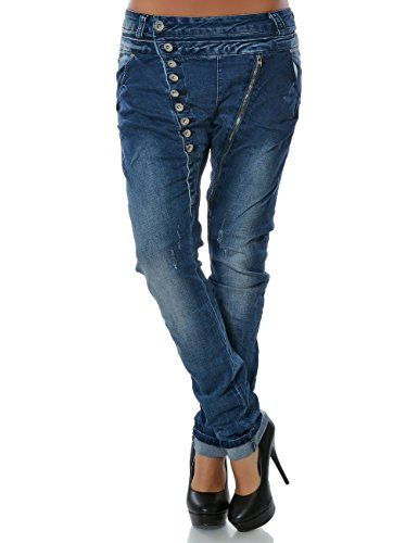 Daleus Damen Boyfriend Jeans Hose Reißverschluss Knopfleiste (weitere...