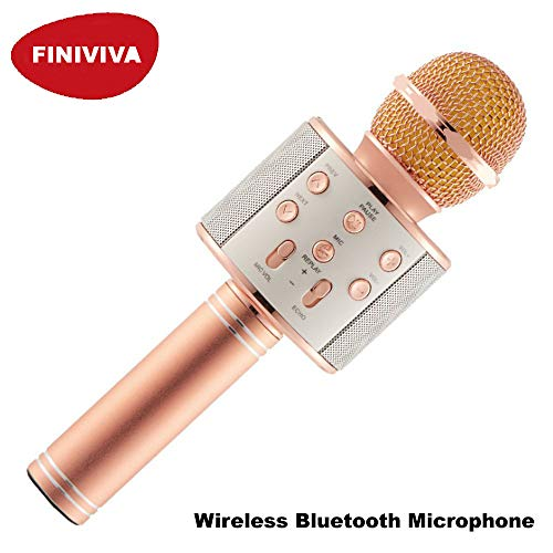 FINIVIVA Rechargeable Handheld Wireless Microphone Mic With USB Charging cable | Multi-function Bluetooth Karaoke Singing Mic with Microphone Speaker | Wireless Microphone Hifi Speaker (1 Pc, Assorted Colours)
