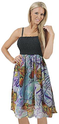 *La Leela* 3 en 1 mujeres la gasa pura ligeras mariposas mangas traje baño ropa playa sin espalda cubrir Correa tirantes falda tubo superior para estar en casa bandeaux señoras ocasionales violeta