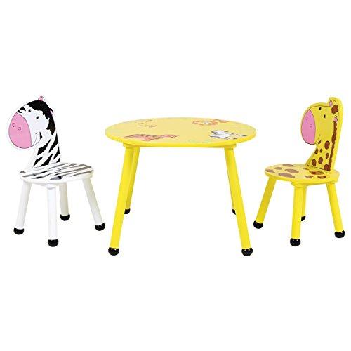 Bentley Kids - Kinder Sitzgruppe - Tisch & 2 Stühle - Safari-Design - Holz - Für Kinderzimmer