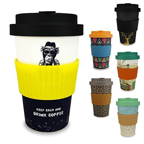Morgenheld  il tuo bicchiere di bambù alla moda | Coffee-to-Go bicchiere ecologico | bicchiere ecosostenibile dal design futuristico da 400 ml