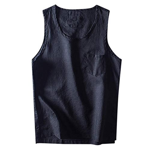 ┃BYEEEt┃ Girocollo Tinta Unita T-Shirt Tascabile Cotone e Lino Gilet Senza Maniche Camicia...