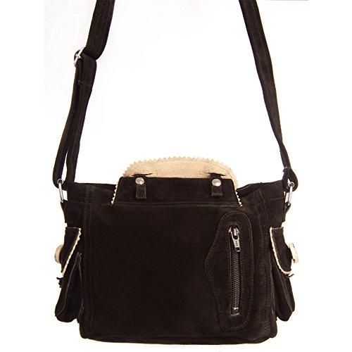 Almbock Trachten-Tasche Betti in schwarz - für Damen, modern, für Hochzeit oder Oktoberfest kaufen, in Lederhosen-Design aus Rinds-Leder - 5