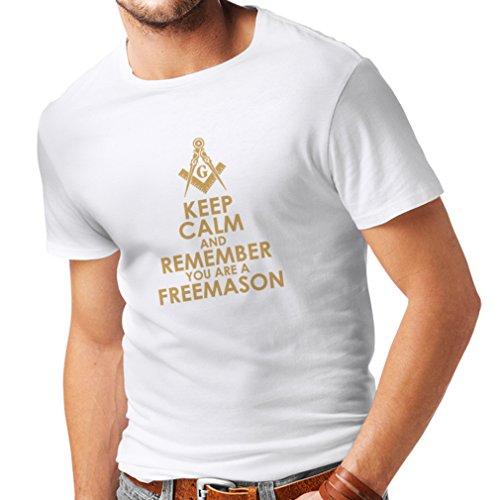 lepni.me Camisetas Hombre Recuerda Que Eres un Freemason Cuadrado y brújula Logotipo masónico (X-Large Blanco Oro)