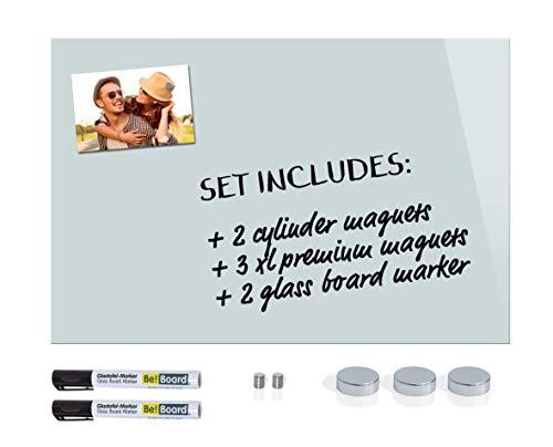 Be!Board SY487 Lavagna magnetica di vetro bianco 60 x 40 cm + 5 Magneti + 2 Marcatori neri