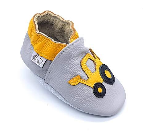 LEPEPPE - Scarpine in Pelle Prima Infanzia - Pantofole Babucce - Neonato - Nido - Materne Danza - Primi Passi Fino al 32/!! Ruspa (M (13 cm di Suola))