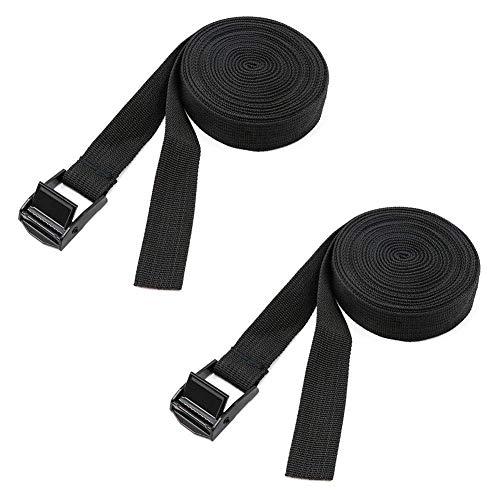 Par de soportes para techo de coche con correas extralargas, correa de amarre negra con hebilla de bloqueo de leva acolchada