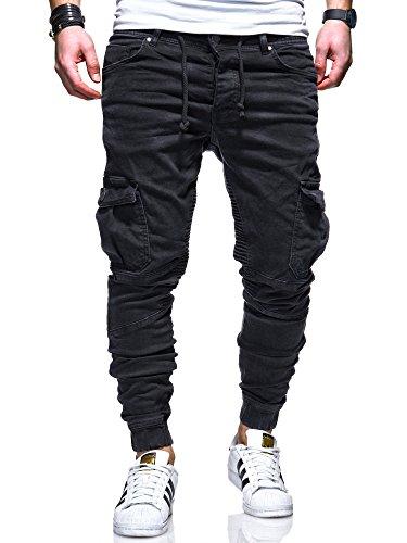 MT-Styles-Herren-Biker-Jogg-Jeans-Hose-RJ-3207-Schwarz-W32L32