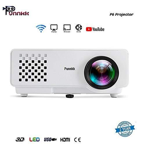 PUNNKK HD (1080p) 1200 Lumen (HDMI/USB/VGA/AV/TV)120 Inch P6WIFI /Android White Projector