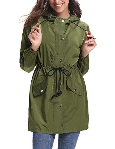 Aibrou Damen Regenjacke Wasserdicht Atmungsaktiv Leichter Kapuzen Trenchcoats Windjacke mit Einstellbarer Kapuze für Sommer und Herbst