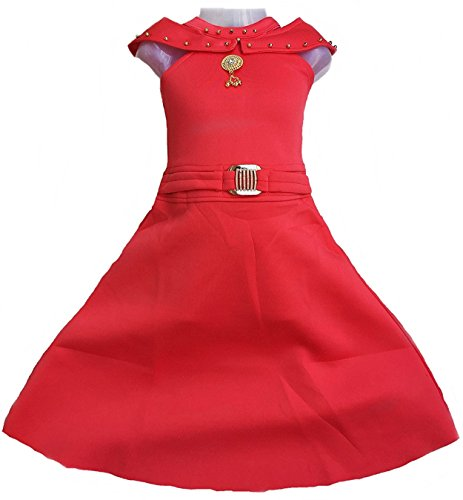 Kashvi Girl's Cotton Dresses and Festival Occasion Modern Floor Length Gown, Size (5-6 Years) (80, Red)
