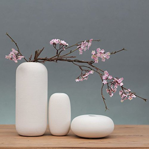 KTYXGKL Giapponese Zen Puro Bianco Ceramica Vaso di Fiori di casa TV Mobile tavolino Decorazioni...