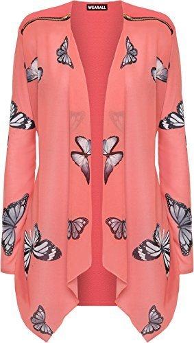 talla grande mujer Chifón Manga Larga Estampado De Mariposas Cárdigan Cremallera Blusa Para Mujer - sintético, Coral, 95% poliéster 95% poliéster 5% elastano, mujer, 18