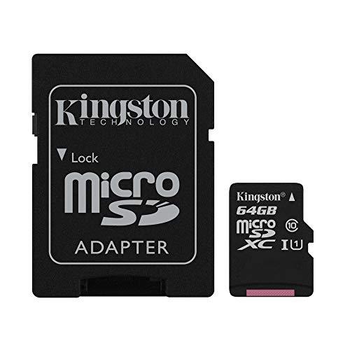 Kingston SDCS/64GB Canvas Select Scheda MicroSD 64 GB, Velocità UHS-I di Classe 10 fino a 80 MB/s in Lettura, con Adattatore SD