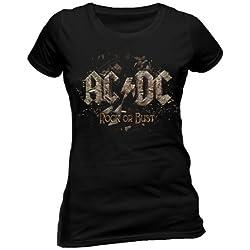 AC/DC–Camiseta Para Mujer–Rock Or Bust Negro Negro Medium