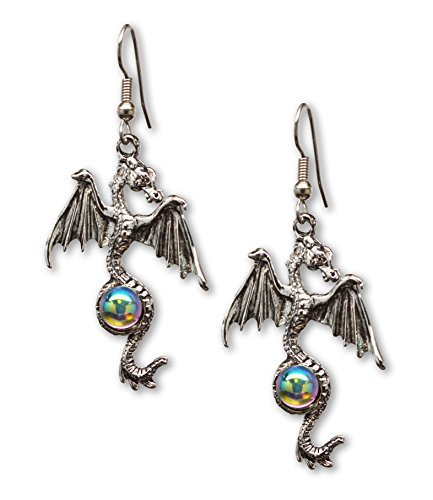 Mystical-Gothic-Dragon-Pewter-Earrings-Medieval-Renaissance-Jewelry