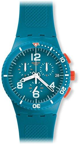 Swatch Unisex Chronograph Quarz Uhr mit Silikon Armband SUSN406