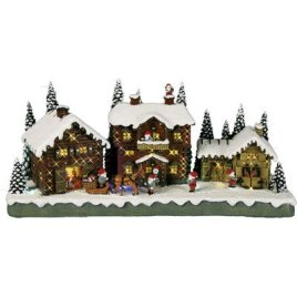 Star 680-57 LED Village Illuminé Motif Père Noël en Village 18,5 x 39 cm
