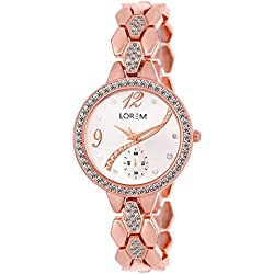 Fashion Now Rose Gold Metal Strap Analog White Dial Women's Watch (Lorem215)
